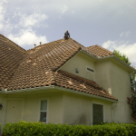 Tile roof cleaning during cleaning